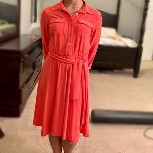 Ny Collection Orange Shirt Dress Size Small